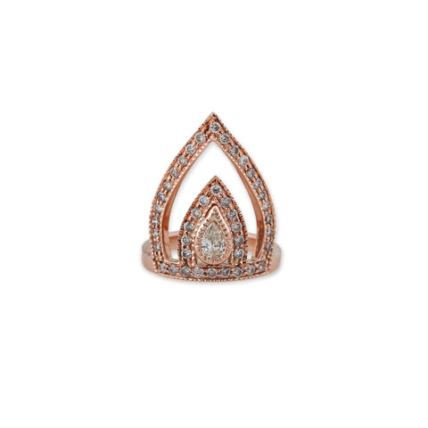 TEARDROP DIAMOND CROWN RING