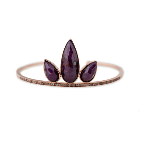 INDIAN RUBY PETAL STACK CUFF
