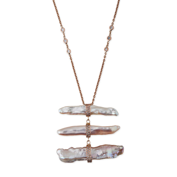 PAVE TRIPLE MOTHER OF PEARL BAR DROP NECKLACE
