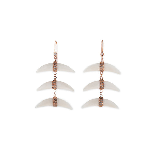 PAVE TRIPLE WIDE DOUBLE HORN DROP EARRINGS