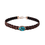 TURQUOISE BEZEL LEATHER CHOKER