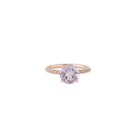 PAVE VINTAGE BAND ROUND MORGANITE RING