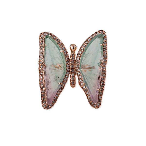 WATERMELON TOURMALINE BUTTERFLY RING