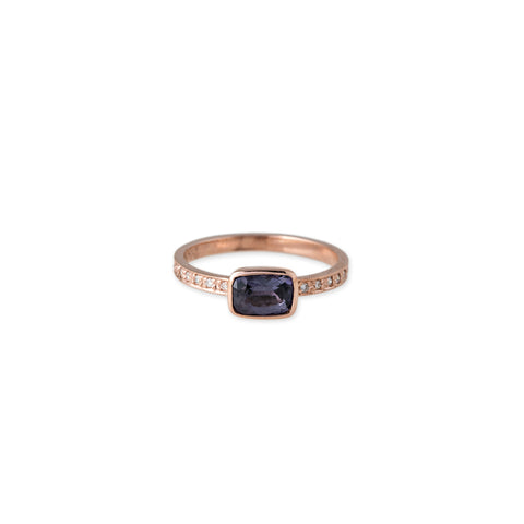 PAVE DIAMOND RECTANGLE SPINEL RING