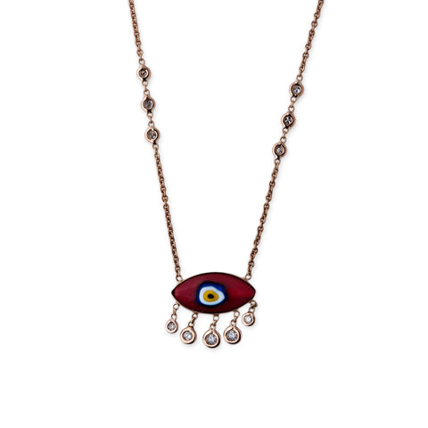 5 DIAMOND DROP MARQUISE EYE NECKLACE