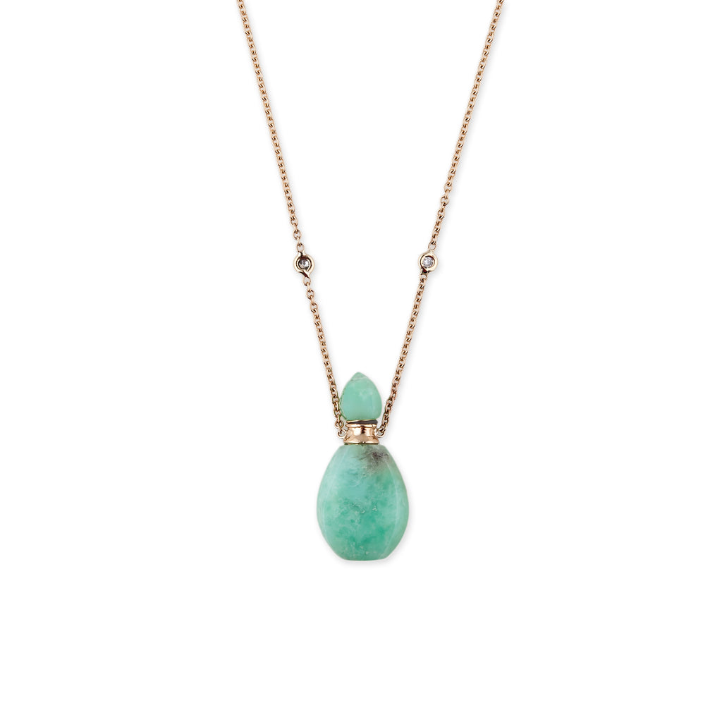 necklace gold neuwirth with lyst irene stones chrysoprase yellow product gallery jewelry