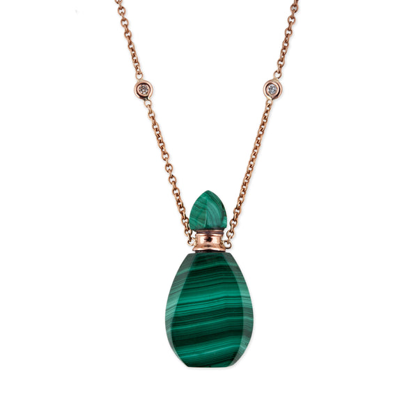 MALACHITE ALADDIN POTION BOTTLE NECKLACE