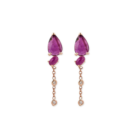 2 DIAMOND RUBY TEARDROP EARRINGS