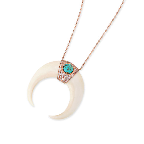 TURQUOISE CENTER PAVE XL BONE DOUBLE HORN NECKLACE