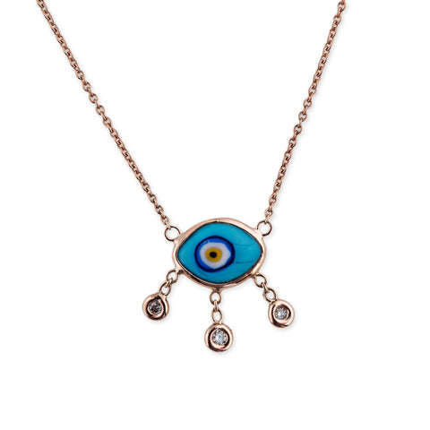 3 DIAMOND DROP TURQUOISE MARQUISE EYE NECKLACE