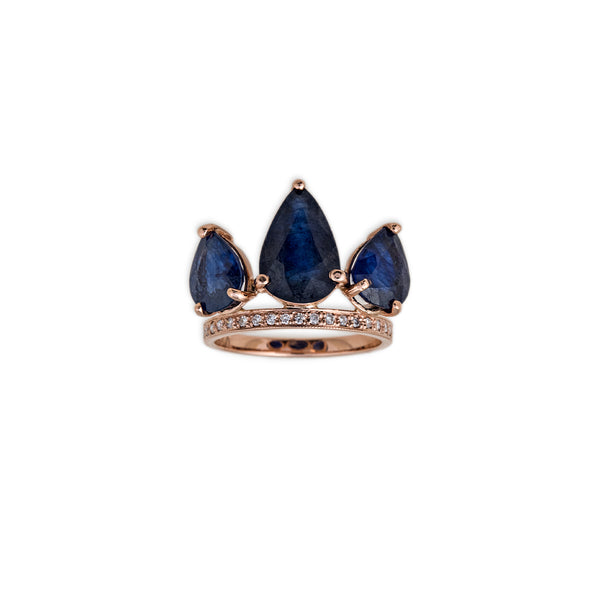 SAPPHIRE PAVE PETAL STACK RING