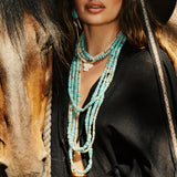 OPAL + TURQUOISE PAVE RONDELLE BEADED NECKLACE