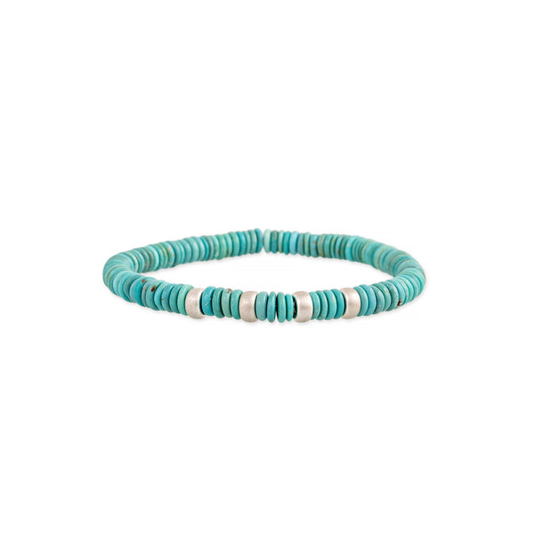 4 SPACED OUT STERLING SILVER BEADS + TURQUOISE BEADED STRETCH BRACELET