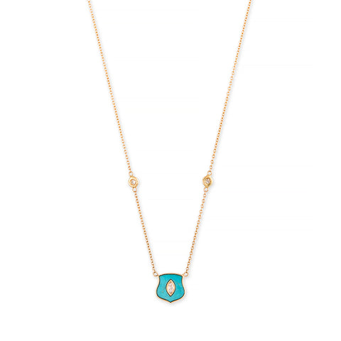 SMALL TURQUOISE DIAMOND CENTER SHIELD NECKLACE