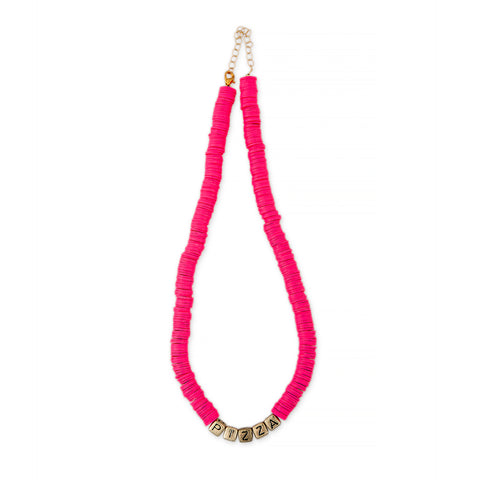 ZOE AICHE PINK HEISHI BEADED PIZZA NECKLACE