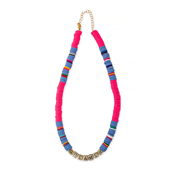 ZOE AICHE STRIPED RAINBOW HEISHI BEADED DREAMER NECKLACE