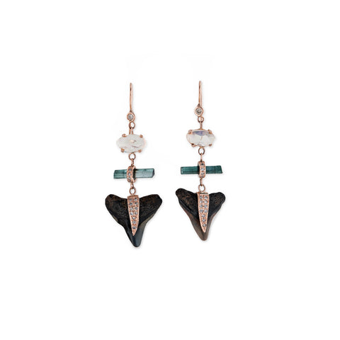 OPAL BLUE TOURMALINE SHARK TOOTH EARRINGS