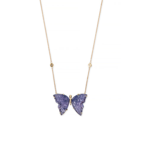 PAVE CENTER TANZANITE BUTTERFLY NECKLACE