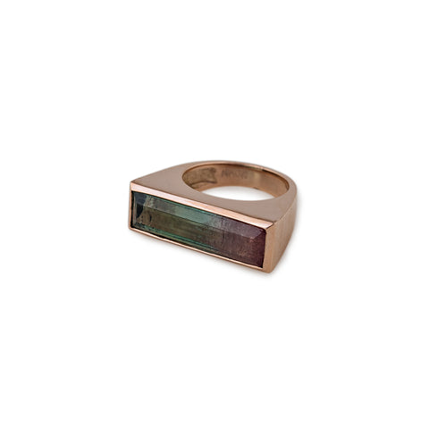 WATERMELON TOURMALINE RECTANGLE RING