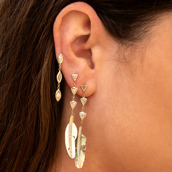 PAVE WHITE FEATHER + 3 DIAMOND TRILLION EARRING