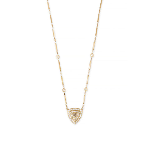TRILLION CENTER PAVE SHIELD NECKLACE