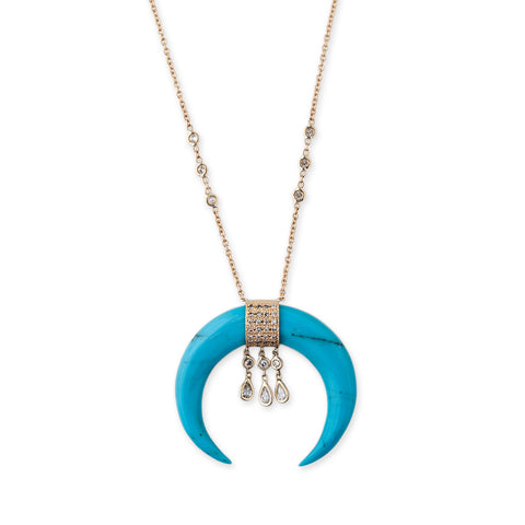 3 DIAMOND TEARDROP TURQUOISE DOUBLE HORN NECKLACE