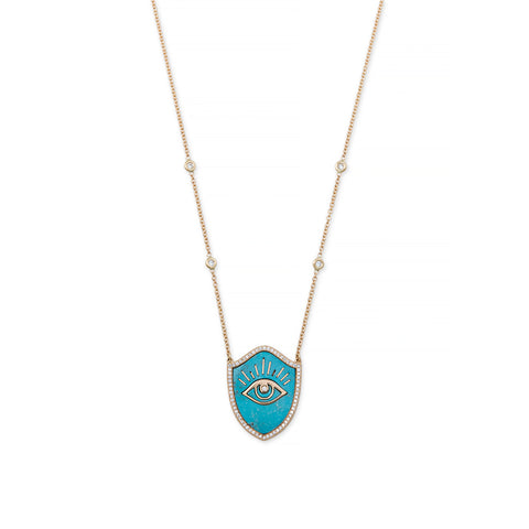 TURQUOISE INLAY EYE SHIELD NECKLACE