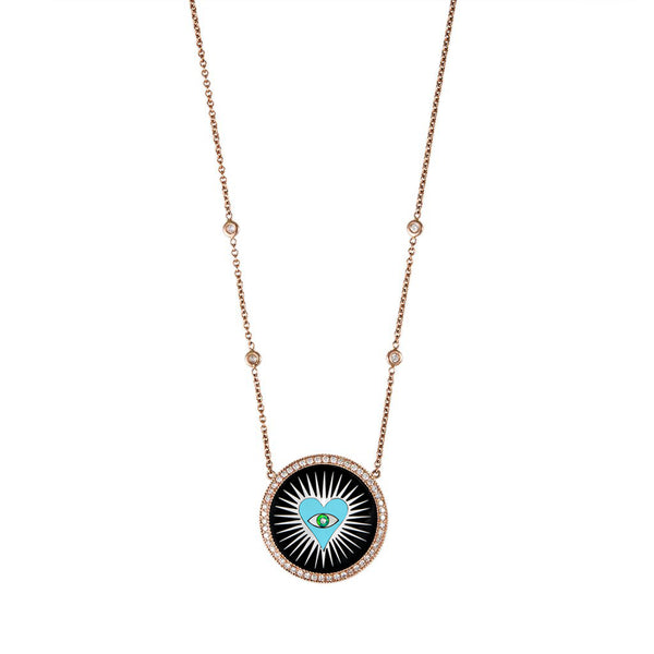 SMALL PAVE ROUND ONYX INLAY TURQUOISE HEART BURST NECKLACE