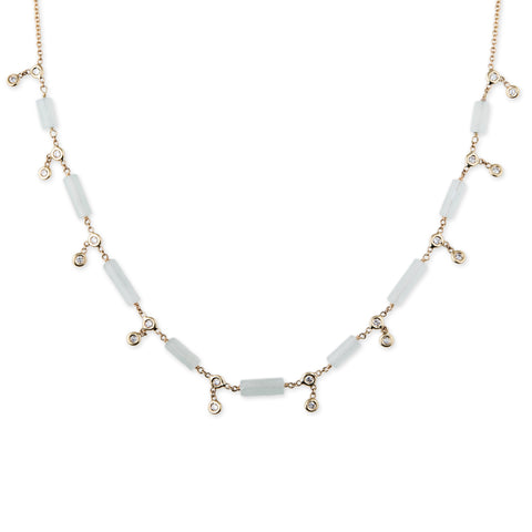 GEMSTONE BAR + 20 DIAMOND SHAKER NECKLACE