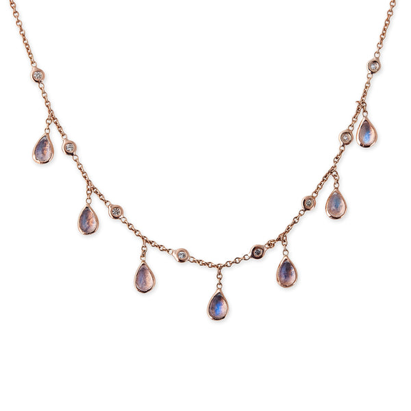 DIAMOND + MOONSTONE TEARDROP DROP NECKLACE