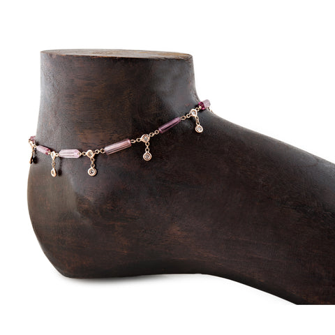 TOURMALINE BAR DIAMOND SHAKER ANKLET