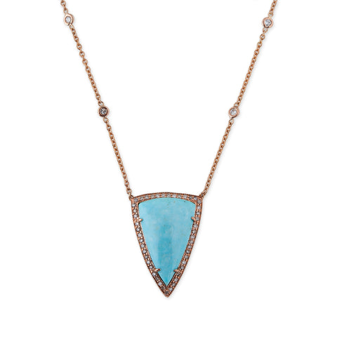 SMOOTH TURQUOISE LONG TRIANGLE NECKLACE