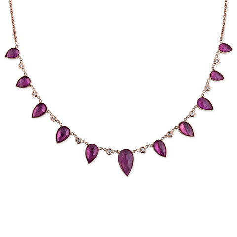 GRADUATED RUBY TEARDROP NECKACE