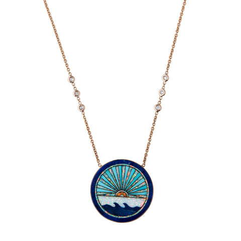LAPIS + TURQUOISE SUNSHINE OPAL INLAY NECKLACE
