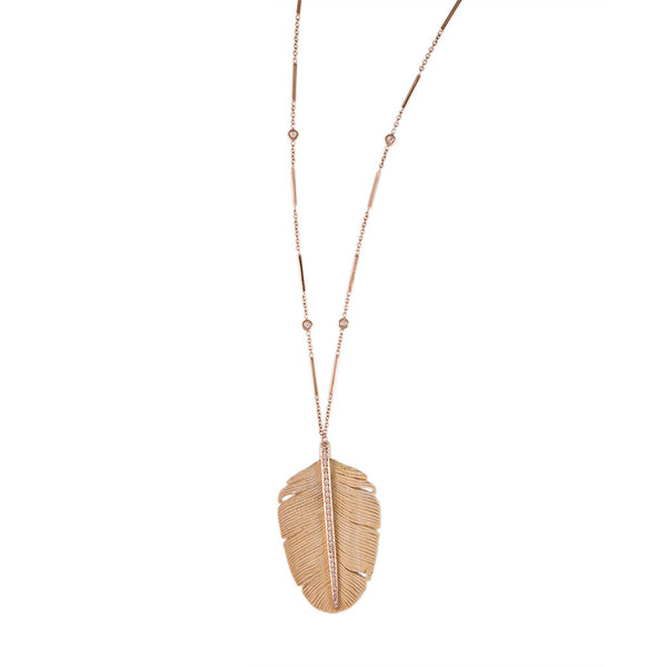 PAVE WOOD FEATHER NECKLACE