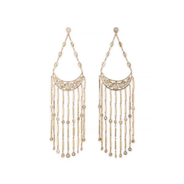 MULTI SHAPE DIAMOND CRESCENT SMOOTH BAR CHANDELIER EARRINGS