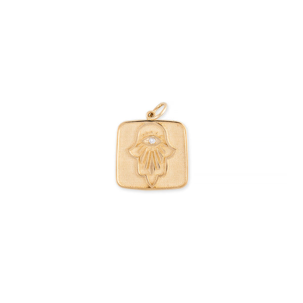 DIAMOND CENTER HAMSA SQUARE TAG CHARM