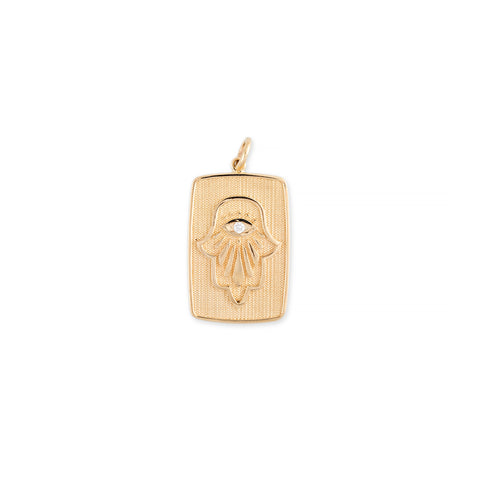 DIAMOND CENTER HAMSA + TRUST TAG RECTANGLE CHARM