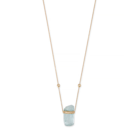 1 ROW PAVE DIAMOND CAP AQUAMARINE CRYSTAL NECKLACE