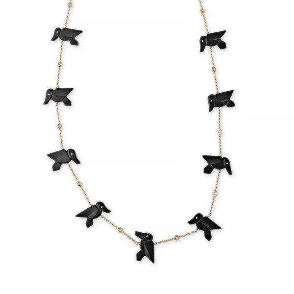 ONYX 15 HUMMINGBIRD NECKLACE