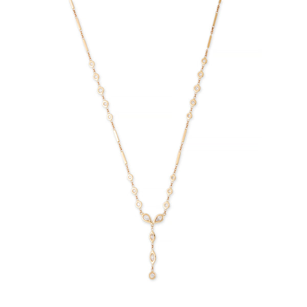 ROUND + TEARDROP + MARQUISE DIAMOND SMOOTH BAR Y NECKLACE
