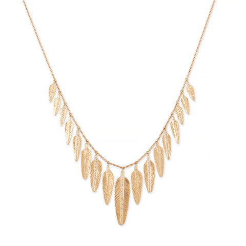 17 GRADUATED PAVE FEATHER SHAKER NECKLACE