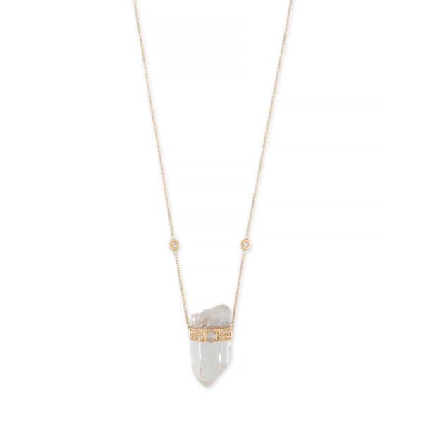 CLEAR QUARTZ + HEXAGON RAW DIAMOND PAVE CAP CRYSTAL NECKLACE