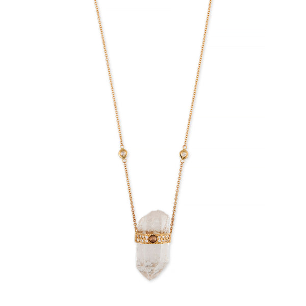 CLEAR QUARTZ ROSE CUT DIAMOND CENTER CAP CRYSTAL NECKLACE