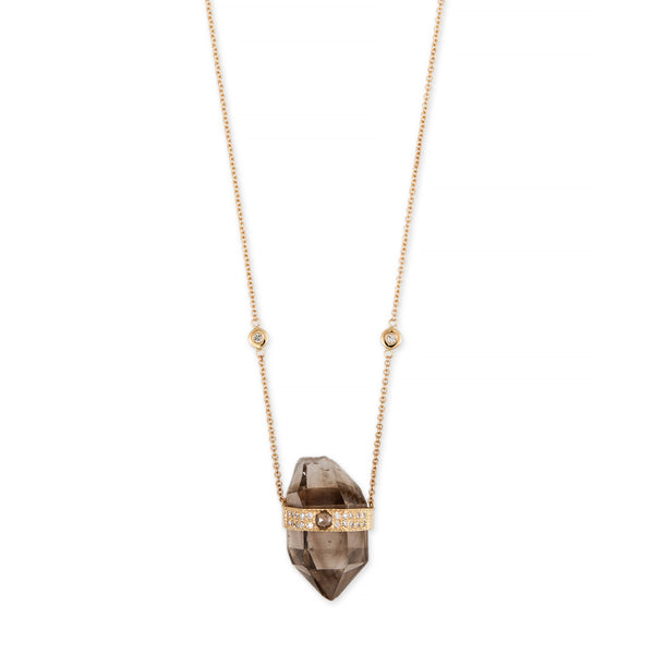 SMOKEY TOPAZ ROSE CUT DIAMOND CENTER CAP CRYSTAL NECKLACE