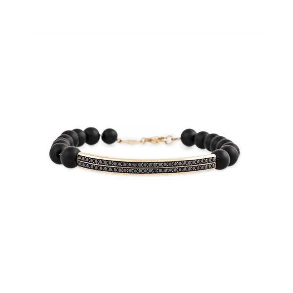 2 ROW PAVE BLACK DIAMOND BAR + HEMATITE BEADED BRACELET