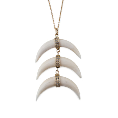 TRIPLE BONE DOUBLE HORN NECKLACE