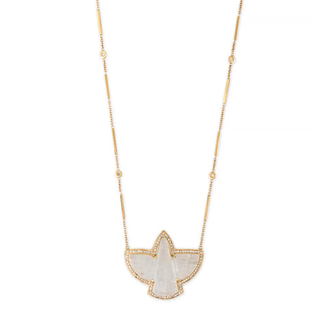 PAVE MOONSTONE THUNDERBIRD NECKLACE