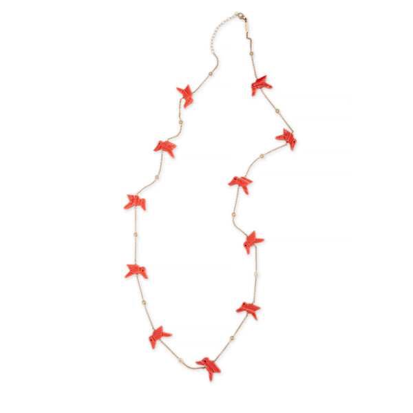 CORAL 11 BIRD NECKLACE