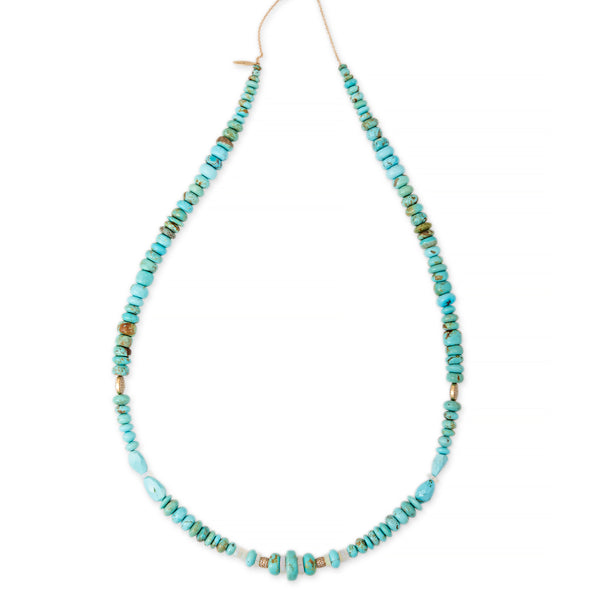 "27"" TURQUOISE + OPAL PAVE RONDELLE BEADED NECKLACE"